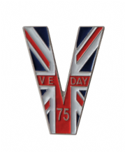 VE Day Victory in Europe 75 Years Victory V Shaped Pin Badge